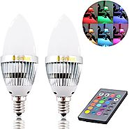 Bonlux 2-Pack 3W RGB E12 Candelabra LED Bulb, 16 Colors 4 Modes Choice, Remote Control Color Changing Candle Light Bu...