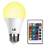 LE Dimmable A19 E26 LED Light Bulb 6W RGB 16 Colors Remote Controller Included