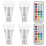 Yangcsl 10W A19 Timing Remote Controller RGBW Color Changing LED Light Bulbs,Double Memory and Wall Switch Control,Da...