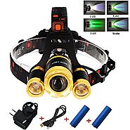 Green light headlamp ,Rechargeable Head Lamp Led with Waterproof feature ,Green Backlight for Hunting Fishing Running...