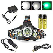 Boruit® Headlamp with Green Light –Green Coyote Hog Hunting Light – Green Fishing Head Lamp- Rechargeable, Green Back...