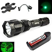 Gugou Waterproof 350 Lumens 18650 Battery Tactical Flashlight 250 Yard Long Range Throwing Green Hunting Light Green...
