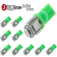 Jtech 10x 194 168 2825 T10 5-SMD Green LED Car Lights Bulb