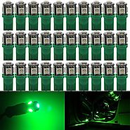 AMAZENAR 30-Pack Green Replacement Stock # 194 T10 168 2825 W5W 175 158 Bulb 5050 5 SMD LED Light ,12V Car Interior L...
