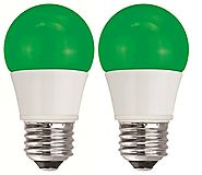 TCP 5W Equivalent Green LED A15 Regular Shaped Light Bulbs, Non-Dimmable (2 Pack)