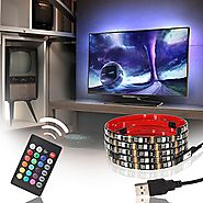 USB LED Multicolor RGB TV Backlight Kit ETL-List, 4pcs of 20 inch (6.56ft) Waterproof Strip Lights, 16 colors+4 modes...