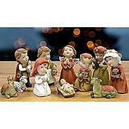 "Nativity Figurine Set of 11 Polystone Children Figures 1"" to 3""H"