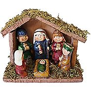 Wood and Ceramic Christmas Kids Nativity Scene with Mossy Creche