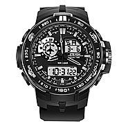 ETEVON Men's 'Air Force' Soft Big Face Analog Digital Watch Dual Time Waterproof EL Backlight, Fashion Military Outdo...