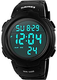 Men's Digital Sports Watch LED Screen Large Face Military Watches and Waterproof Casual Luminous Stopwatch Alarm Simp...