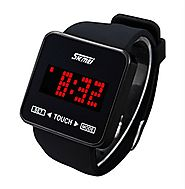 SKMEI Touch Screen Digital LED Waterproof Boys Girls Sport Casual Wrist Watches Black