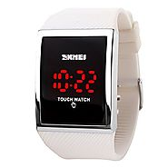 Gosasa Touch Screen Digital LED Waterproof Boys Girls Sport Casual Wrist Watches(White)