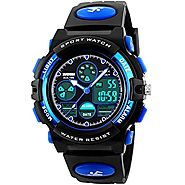 LIGE Electronic Led Display Sport Watch Kids Black Blue