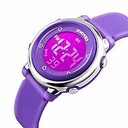 Gosasa Kids LED Digital Electrical Luminescent Silicone Outdoor Sport Waterproof Alarm Children Dress Wrist Watch wit...