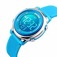 Kids Digital Watch Outdoor Sports Watches Boy Girls LED Alarm Wrist watch Children's Wristwatches Blue