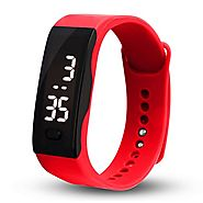 Malltop LED Watch, Unisex Rubber Bracelet White LED Digital Display Sports Wrist Gift Watch (Red)