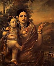 Yasoda with Krishna by Raja Ravi Verma