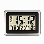 "Hippih 10"" Digital Desktop Wall Clock with Temperature,Date and Day"