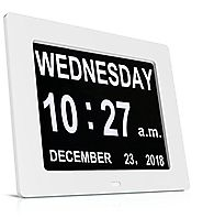 Silent Desk Shelf Clocks, HeQiao Decorative Wall Clock Slim Digital Calendar Day Clock Elderly Large LCD Clock for Ho...
