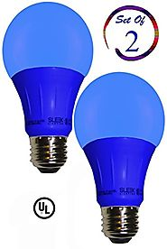 Sleeklighting LED A19 Blue Light Bulb, 120 Volt, 3 Watt Medium Base, UL-Listed LED Bulb, Pack of 2-(lasts more than 2...