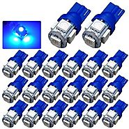 YITAMOTOR 20 PCS T10 Wedge 5-SMD 5050 Ultra Blue LED Light bulbs W5W 2825 158 192 168 194