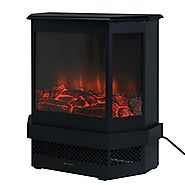 "Giantex Free Standing 23"" Electric Fireplace 1500W Adjustable Heater Fire Tempered Glass"