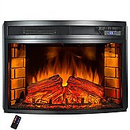 AKDY Freestanding 6 Setting LED Backlights Tempered Glass Adjustable Electric Fireplace Heater w/ Remote Control & Lo...
