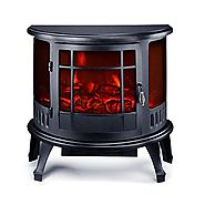 "Portable Electric Fireplace 23"" Freestanding Heater Smokeless Stove 1500W With Ebook"