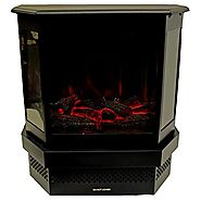 Portable 120V Electric Fireplace Stove 750/1500W Heater w/ Real Log Flame Effect