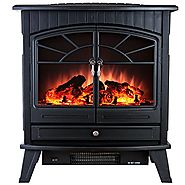 "AKDY 23"" Tempered Glass 1500W Adjustable Freestanding Portable Logs Style Electric Fireplace Heater Stove"