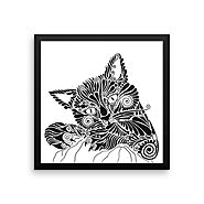 "14 x 14 inches Framed Designer Art for Cat Lovers – ""Playful Me"""
