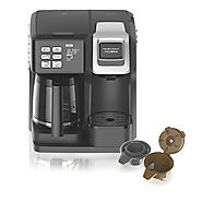 Hamilton Beach Programmable Coffee Maker, Flexbrew Single Serve (K-Cup Packs or Ground Coffee) - (49974)
