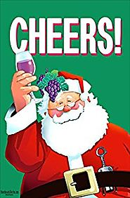 "Cheers! Christmas Garden Flag - 12.5"" x 18"" - Double Sided Flag - Santa Cheers Home Decor"