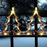 Christmas Lighted Window Decorations Xmas Trees Silhouette | Pack of 2