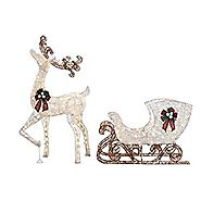 Home Accents Holiday 60 in. LED Lighted Standing Deer with 44 in. LED Lighted Acrylic Sleigh
