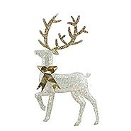 "46"" Lighted 2-D Silver Glitter Reindeer Christmas Yard Art Decoration"