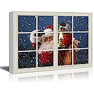wall26 - Canvas Print Wall Art - Window Frame Style Wall Decor - Santa Claus Carrying Gifts Coming on Christmas Eve |...