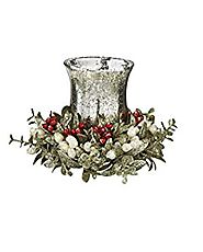 7 inch Glass Floral Mistletoe Red Holly Tea Light Set