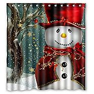 "Christmas Snowman Gift Tree Santa Design of Waterproof Bathroom Fabric Shower Curtain with 12hooks 66""x72"""