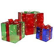Northlight Seasonal 3 Piece Lighted Red Green and Blue Gift Box Presents Christmas Yard Art Decoration Set