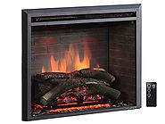 "PuraFlame 26"" Western Electric Fireplace Insert with Remote Control, 750/1500W, Black"