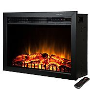 "Golden Vantage 23"" 5200 BTU 1500W Adjustable Freestanding Tempered Glass Made Electric Stove Fireplace Heater w/ Remo..."