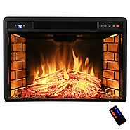 "AKDY 28"" Freestanding Electric Fireplace Insert Heater in Black with Tempered Glass and Remote Control"