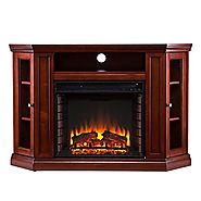 SEI Claremont Media Console with Electric Fireplace, Brown Mahogany