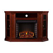 "Southern Enterprises Claremont Convertible Media Electric Fireplace 48"" Wide, Cherry Finish"