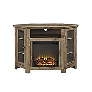 "Walker Edison Jackson Collection W48FPCRBW 48"" Wood Corner Media TV Stand Console with Double Doors and Electric Fire..."