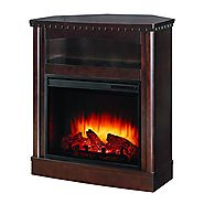 Pleasant Hearth Thompson Compact Wall/Corner Media Fireplace, Mocha
