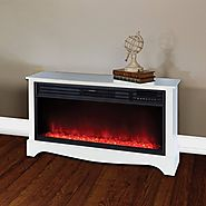 "Lifesource 20"" Tall Heater Fireplace with Color Change LED Affect, White Cabinet"