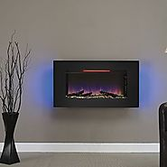 "ClassicFlame 36II100GRG Elysium 36"" Wall Mounted Infrared Quartz Fireplace, Black Glass Frame"