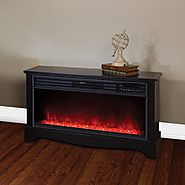 "Black Cabinet 20"" Tall Heater Fireplace with Color-Change LED Affect"